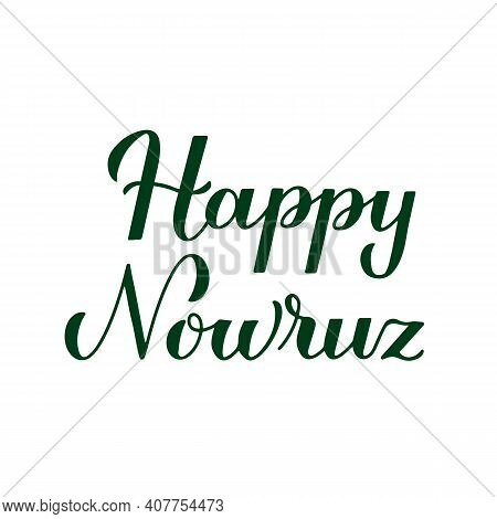 Happy Nowruz Calligraphy Hand Lettering Isolated On White. Iranian Or Persian New Year Sign. Spring