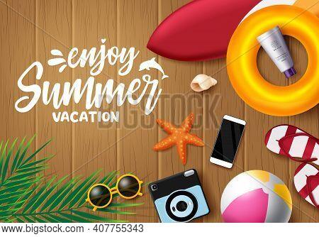 Enjoy Summer Vector Banner Design. Enjoy Summer Vacation Text With Beach Element Like Floater, Camer
