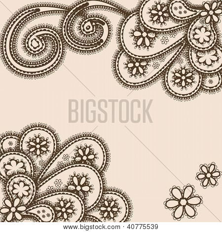 Abstract Ornament With Paisleys, Henna Style