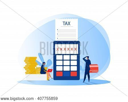 Tax Financial Analysis; Business People Calculating Document For Taxes Flat Vector Illustration