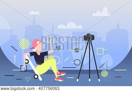 Woman Skater Performing Tricks Blogger On Skateboard Recording Video With Camera On Tripod Social Ne
