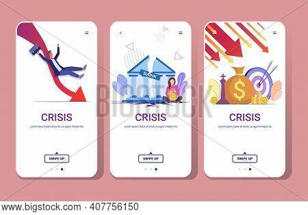 Set Falling Arrows Decrease Economy Stretching Rising Drop Financial Crisis Failure Budget Collapse