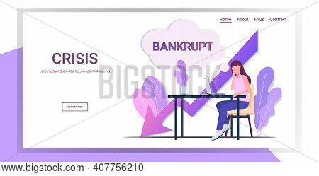 Businesswoman Using Laptop At Workplace Bankrupt Chat Bubble Economic Arrow Falling Down Financial C