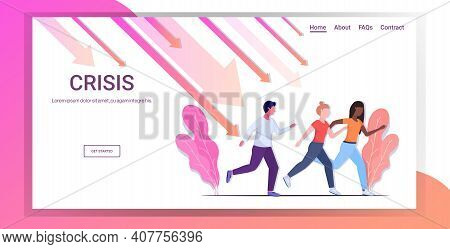 Mix Race Businesspeople Running Away From Downward Chart Falling Down Arrows Financial Crisis Bankru