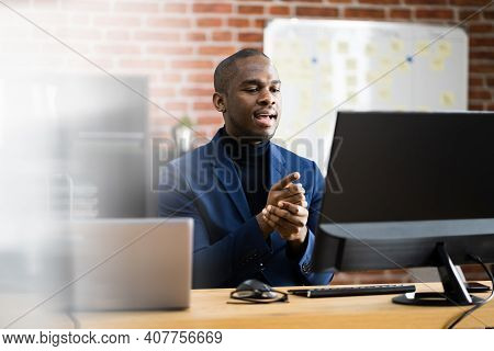 Online Video Conference Elearning Call On Computer