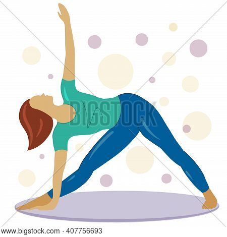 The Girl Is Doing Yoga. Elongated Triangle Pose