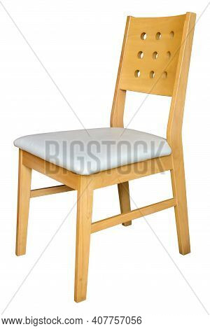Wooden Chair With White Leather Cushion Isolated On White Backgrounds, Work With Clipping Path.