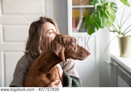 Woman Owner And Her Vizsla Dog Sitting Together On Windowsill, Looking Through The Window. Love For