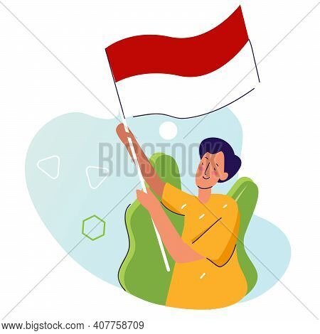 Man Hold Indonesian Flag With Cartoon Flat Style