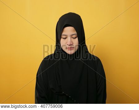 Sad Depressed Anxiety Asian Muslim Woman Thinking Contemplating Bad Thing Happened In Her Life, Stre