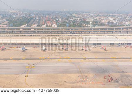 Bangkok, Thailand- January 24 2021 : Aircraft At The Airport Runway The Impact Of Covid-19 At Don Mu