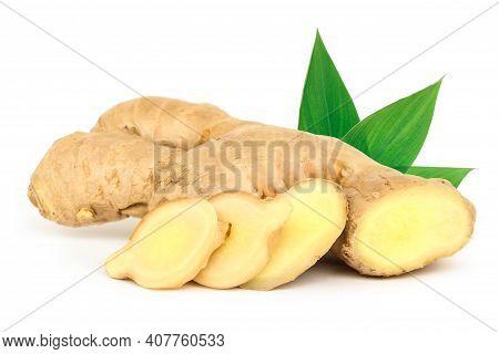 Fresh Ginger Rhizome Isolated On White Background.