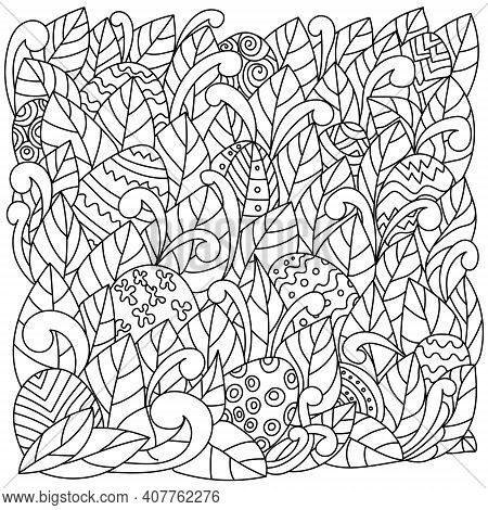 Search For Easter Eggs, Egg Hunt In Coloring Pages, Patterned Eggs Among The Leaves For Kids Activit