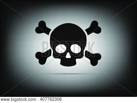 Skull And Crossbones Icon Isolated Design On Vector Illustration. Danger Or Poison Flat Vector Icon,