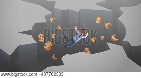 African American Businessman With Dollar Euro Signs Falling Down In Hole Abyss Financial Crisis Bank