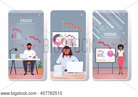 Set Angry Businesspeople Analyzing Downward Charts Economic Arrow Falling Down Financial Crisis Bank