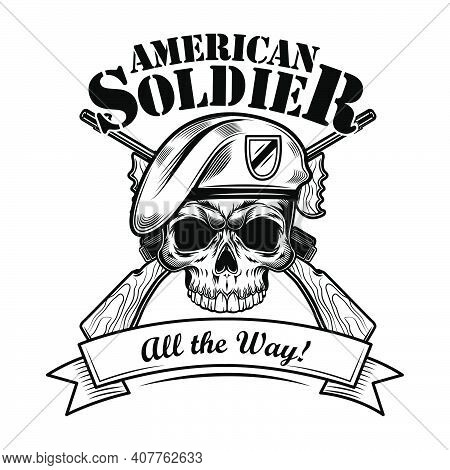 Airborne Forces Soldier Vector Illustration. Skull In Beret With Crossed Riffles And A;; The Way Tex