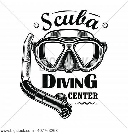 Diver Mask And Tube Vector Illustration. Scuba Diving Center Text. Seaside Activity Concept For Snor