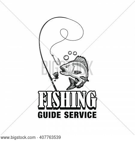 Fishing Guide Service Label Vector Illustration. Fish, Tackle, Hook And Text. Fishing Or Sport Conce