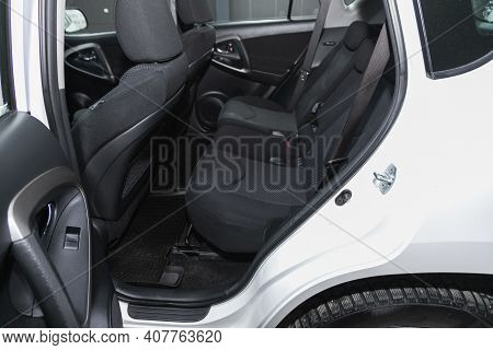 Novosibirsk, Russia - February 07 2021: Toyota Rav-4, Comfort Car Inside. Clean Car Interior: Black