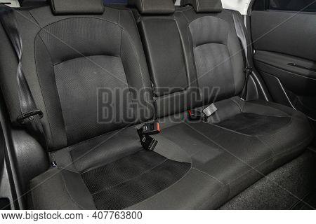Novosibirsk, Russia - February 07 2021: Nissan Qashqai, Comfort Car Inside. Clean Car Interior: Blac