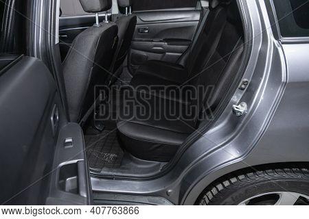 Novosibirsk, Russia - February 07 2021: Mitsubishi Asx, Comfort Car Inside. Clean Car Interior: Blac