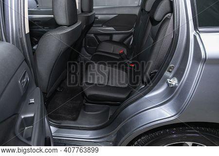 Novosibirsk, Russia - February 07 2021: Mitsubishi Outlander, Comfort Car Inside. Clean Car Interior