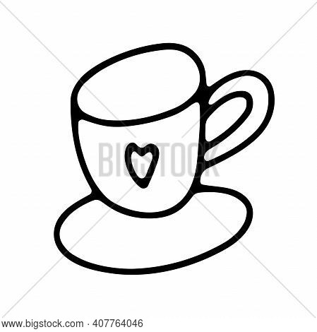 Doodle Coffee Cup. Cute Hot Beverage Isolated On White Background. Outline Tea, Latte, Cappuccino, A
