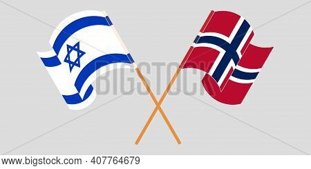 Crossed And Waving Flags Of Israel And Norway. Vector Illustration