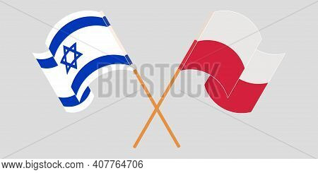 Crossed And Waving Flags Of Israel And Poland. Vector Illustration