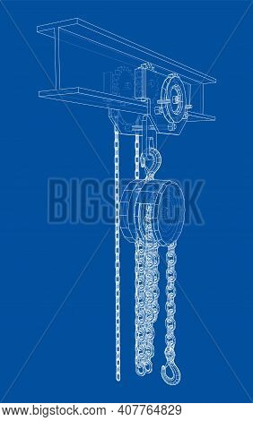 A Hoist On The Beam. Vector Rendering Of 3d. Wire-frame Style