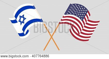 Crossed And Waving Flags Of Israel And The Usa. Vector Illustration