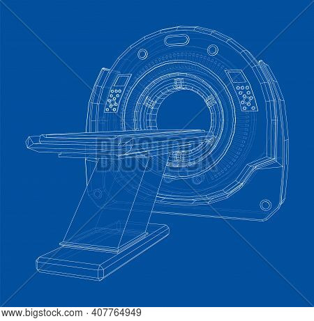 Magnetic Resonance Imaging Or Mri. Wire-frame Style. Vector 3d Rendering