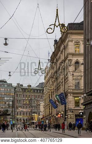 Helsinki, Finland - January 17, 2020: View Of A Street In Central Helsinki On A Winter Cloudy Day.
