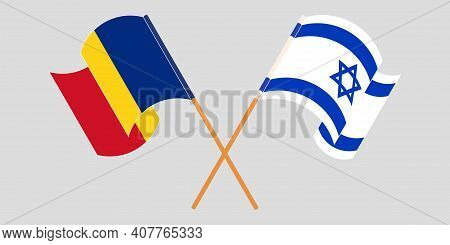 Crossed And Waving Flags Of Romania And Israel. Vector Illustration