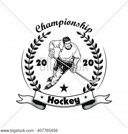 Hockey Championship Label Vector Illustration. Ice Hockey Player In Helmet, Uniform And Skates, Laur