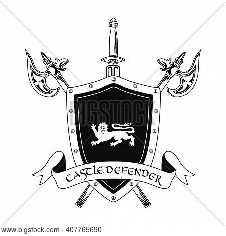Medieval Knight Weapon Vector Illustration. Crossed Axes, Sword, Shield And Castle Defender Text. Gu