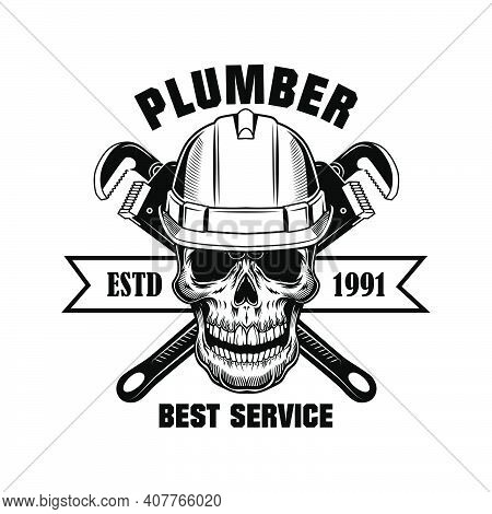 Plumbers Skull Vector Illustration. Skeleton Head In Hardhat With Crossed Wrenches And Best Service