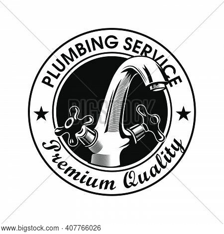 Plumbing Service Stamp Vector Illustration. Faucet And Premium Quality Text With Stars. Plumbing Con