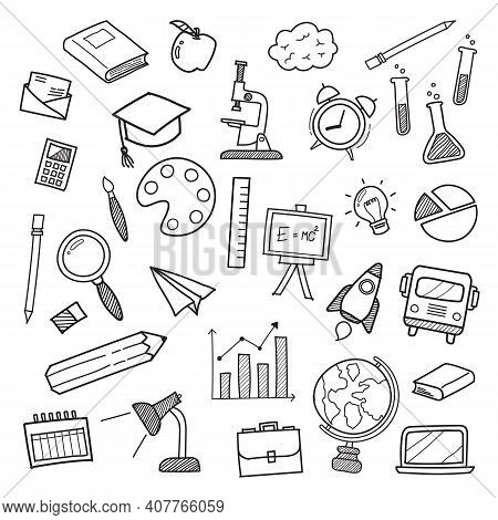 Education Icons Doodle Hand Drawn. Vector Illustration