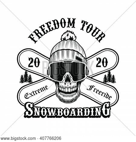 Skull Of Snowboarder In Hat Vector Illustration. Head Of Skeleton, Extreme Freeride Text On Crossed