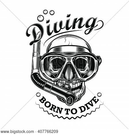 Snorkeler Skull Vector Illustration. Head Of Skeleton With Mask And Tube, Born To Dive Text. Seaside