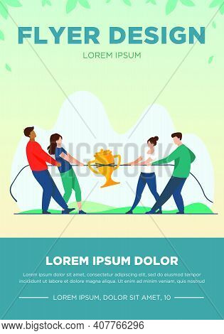 Teams Competing For Prize. People Playing Tug-of-war, Pulling Rope With Golden Cup Flat Vector Illus