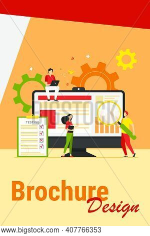 Tiny People Testing Quality Assurance In Software Isolated Flat Vector Illustration. Cartoon Charact