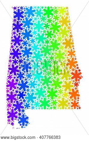 Spectral Gradient Mosaic Of Alabama State Map Created For New Year Holidays. Alabama State Map Mosai