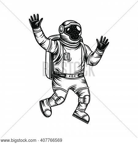 Vintage Astronaut In Spacesuit Exploring Universe Vector Illustration. Monochrome Cosmonaut In Open