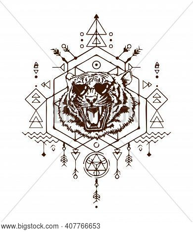Angry Tiger Head In Sunglass. The Grin Of A Tiger. Sacred Geometry. T-shirt Print. Detailed Drawing