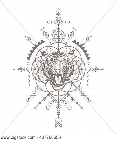 Angry Tiger Head. The Grin Of A Tiger. Sacred Geometry. T-shirt Print. Detailed Drawing Of A Tiger.