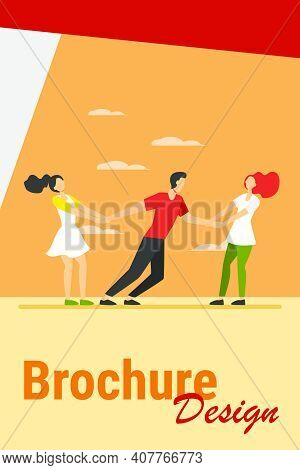 Women Competing For Boyfriend. Girls Pulling On Guy Arms Flat Vector Illustration. Competition, Love