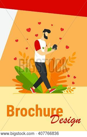 Young Dad Walking And Carrying Baby. New Father Admiring Child Flat Vector Illustration. Love, Fathe